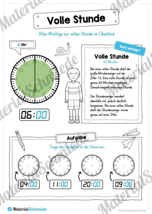 Uhr und Uhrzeit kennenlernen (Volle Stunde)