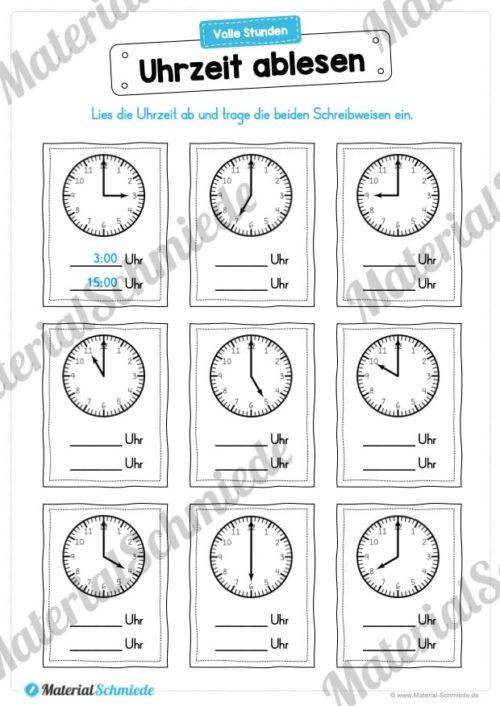MaterialPaket: Uhrzeit ablesen und eintragen (Vorschau 01)