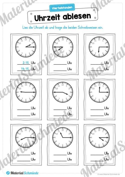 MaterialPaket: Uhrzeit ablesen und eintragen (Vorschau 02)