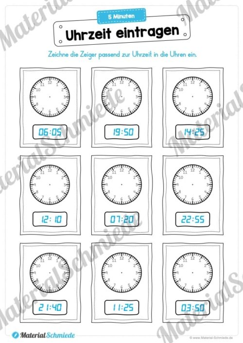 MaterialPaket: Uhrzeit ablesen und eintragen (Vorschau 04)