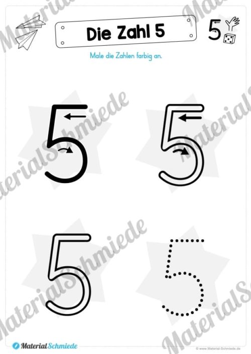 Zahl 5 schreiben lernen (Vorschau 03)
