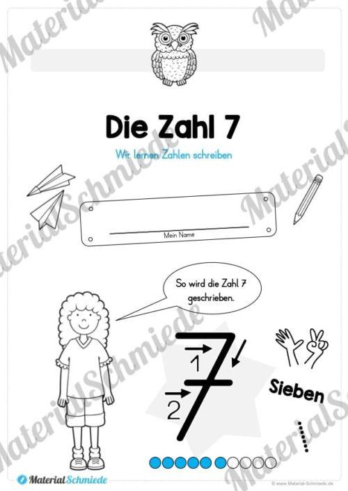 Zahl 7 schreiben lernen (Vorschau 01)