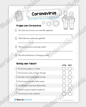 Arbeitsblatt: Fragen zum Coronavirus