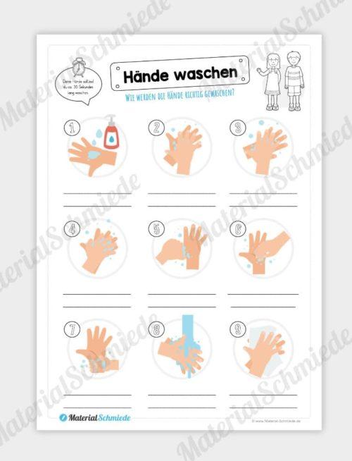 Arbeitsblatt: Hände waschen - Text eintragen