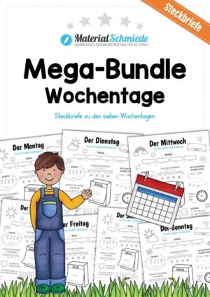 Mega-Bundle: Steckbriefe Wochentage (7 Arbeitsblätter)