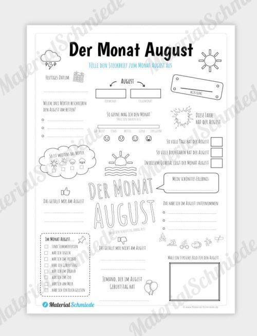 Steckbrief Monat August