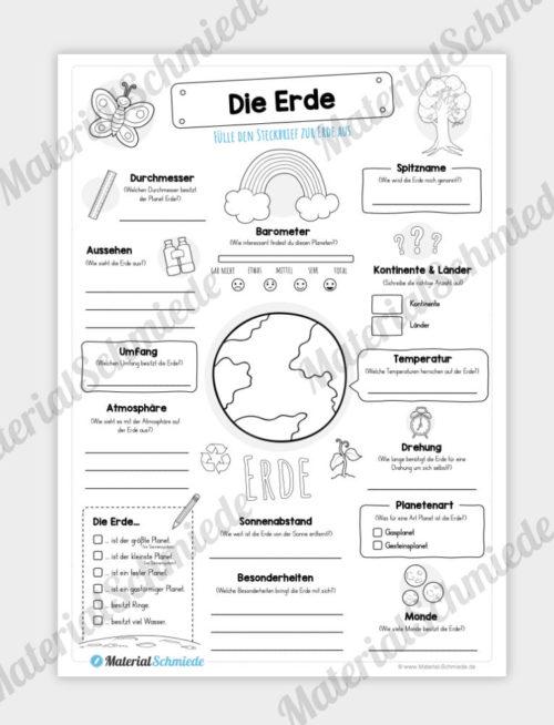 Arbeitsblatt: Steckbrief Erde (Planet)