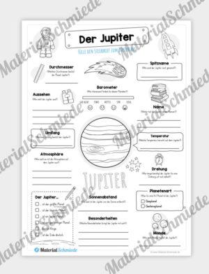 Arbeitsblatt: Steckbrief Jupiter (Planet)