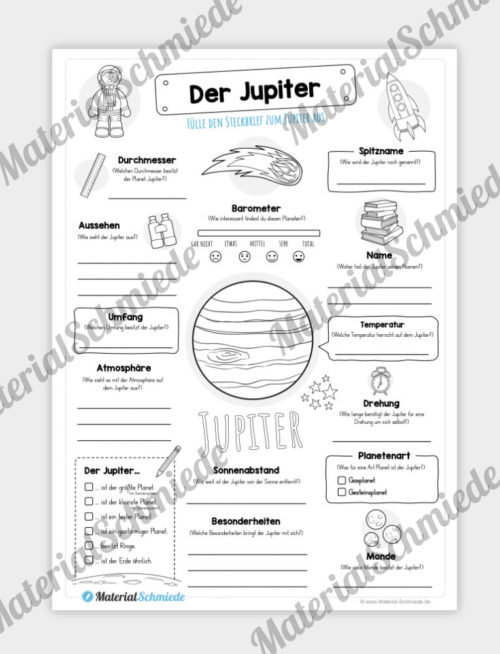 Arbeitsblatt: Steckbrief Jupiter (Planet)