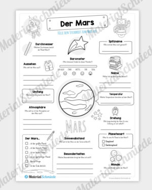 Arbeitsblatt: Steckbrief Mars (Planet)