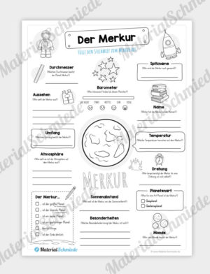 Arbeitsblatt: Steckbrief Merkur (Planet)