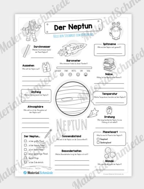 Arbeitsblatt: Steckbrief Neptun (Planet)