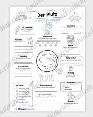 Arbeitsblatt: Steckbrief Pluto (Planet)