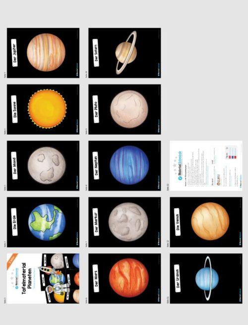 Tafelmaterial zu den 11 Planeten (Vorschau)