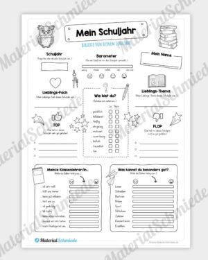 Reflexionsbogen: Mein Schuljahr