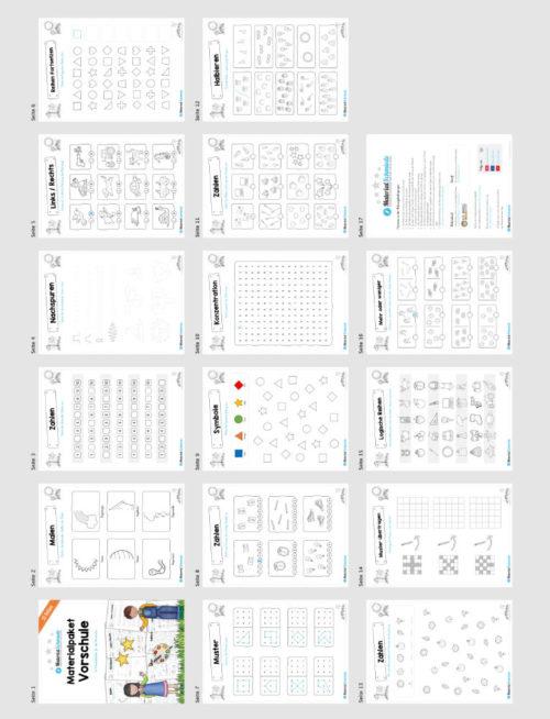 MaterialPaket Vorschule - 15 Übungen für Kinder (Überblick)